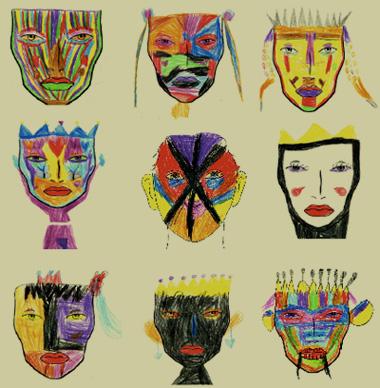 儿童舞台妆化法图片; 奇怪的脸儿童画;